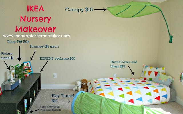 A montessori nursery with a leaf canopy bed, duvet cover and sham, play tunnel and a small bookcase