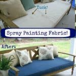 how to spray paint fabric before and after
