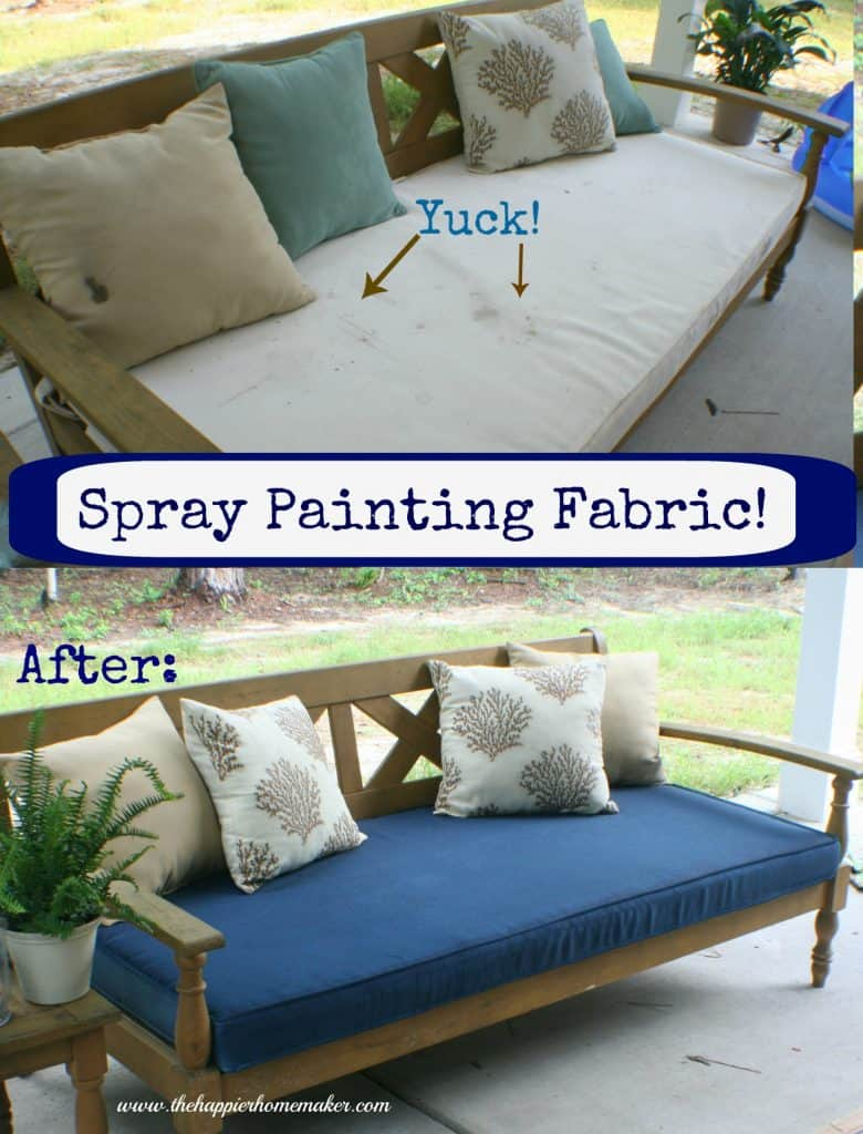 A before and after collage of dirty white patio cushion then spray painted blue decorated with pillows