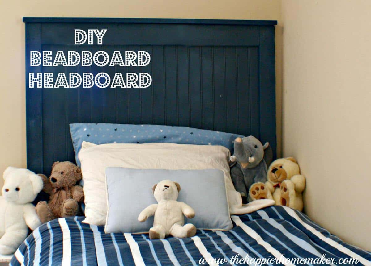 DIY blue bead board headboard
