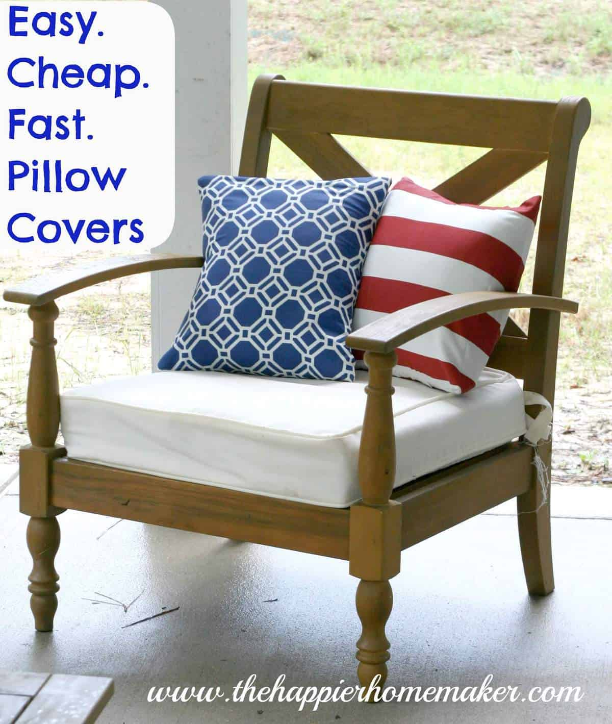 DIY pillow covers sitting on outside furniture