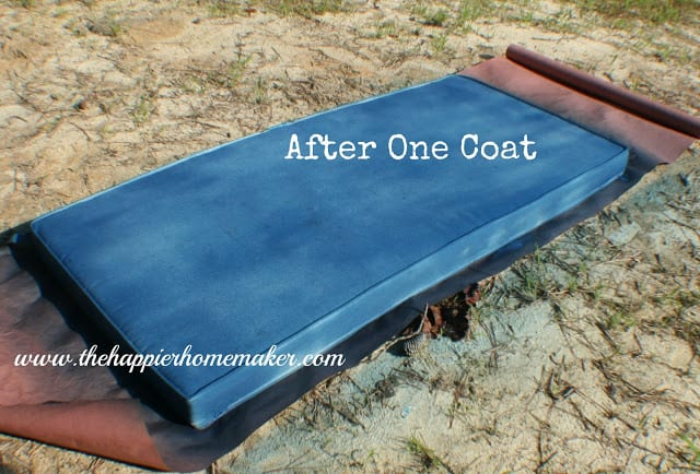 Outdoor cushion after one coat of blue fabric spray paint