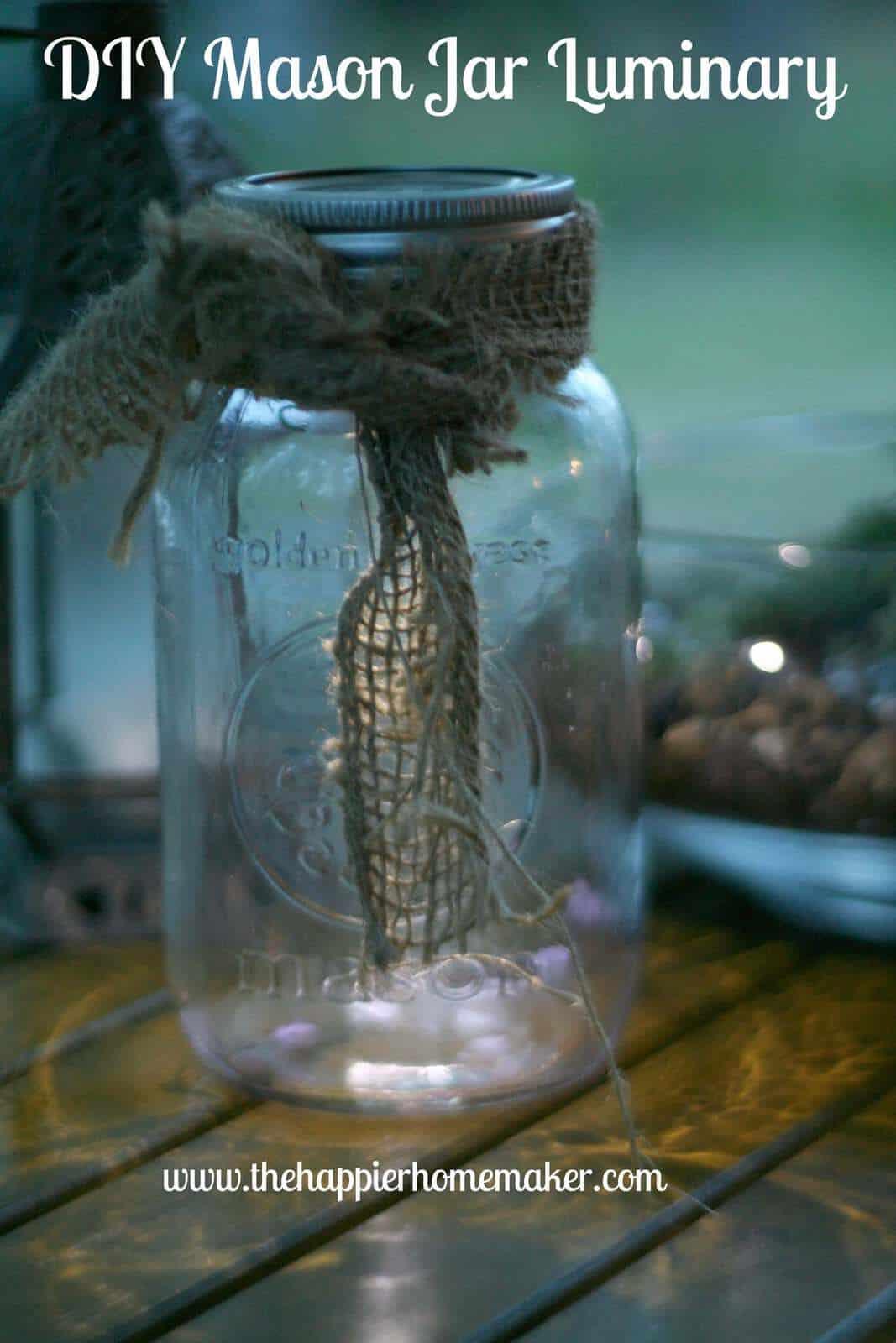 A DIY glass jar with luminary burlap ribbon