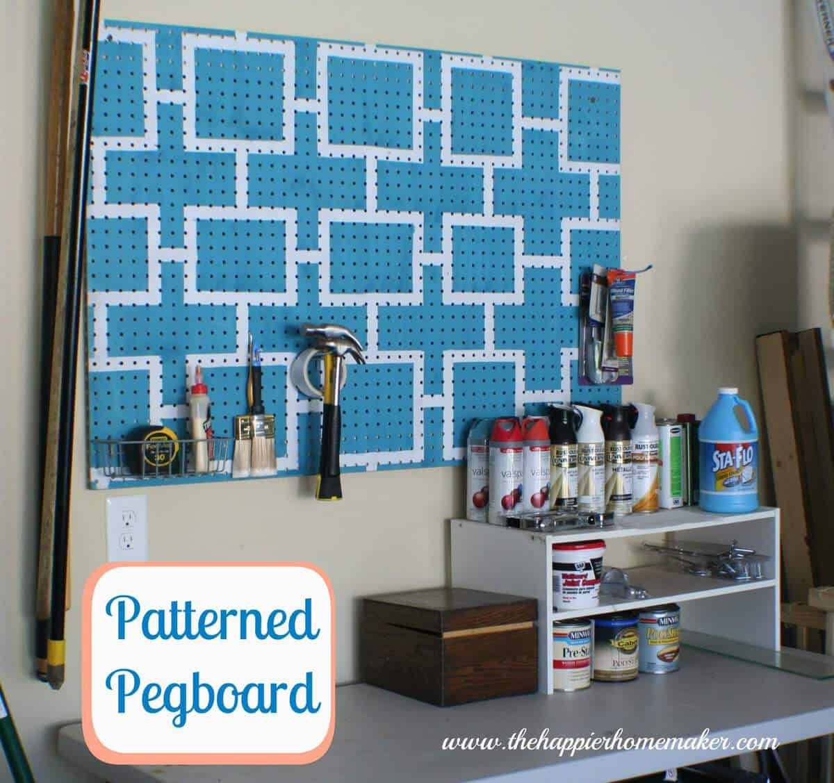 Patterned Pegboard Garage Organization