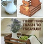 A collage of pictures including a white vase and wood basket touched up to make usable accent pieces