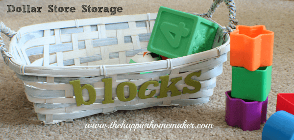 dollar store white painted basket krylon dual green chipboard letters blocks storage