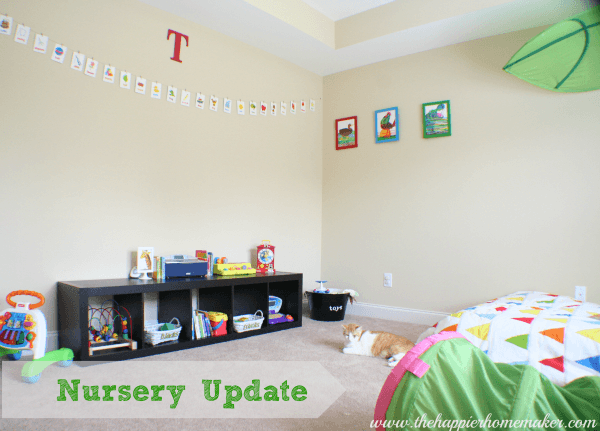 frugal thrifty nursery montessori ikea colorful spray paint krylon banner