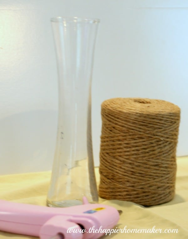 A glass vase and jute