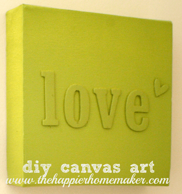 spray painted nursery art love chipboard letters canvas green diy