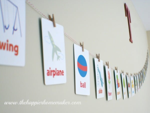 cheap diy nursery banner flashcards clothespins baker's twine