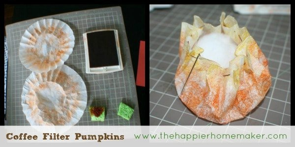 making a coffee filter pumpkin craft