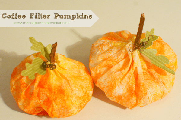 coffee filter pumpkin craft