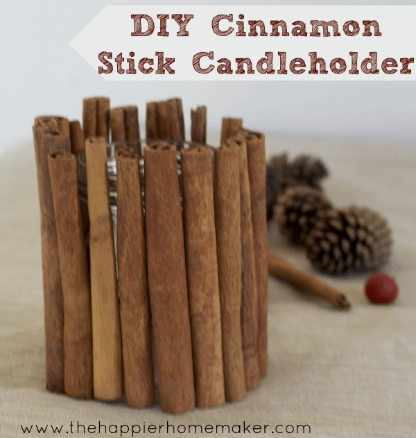 candle holder brown cinnamon sticks diy