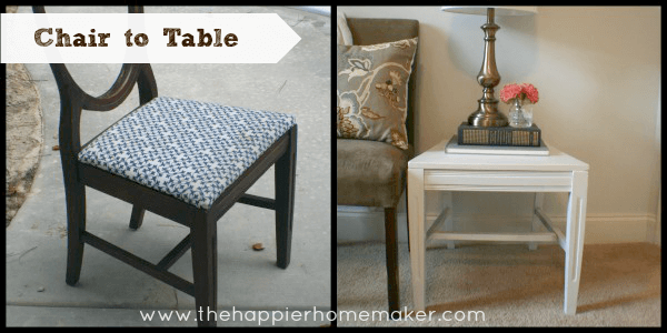A before and after picture of making an up-cycled chair to side table