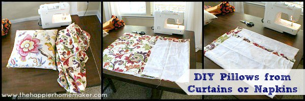 making pillows from napkins curtains world market diy easy sew