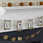 Dollar Store Autumn Banner with Spray Painted Gold Leaves