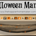 halloween mantle black orange white spiders pumpkins ghost jack o'lantern cheesecloth