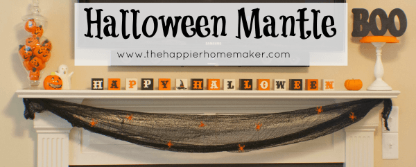 halloween mantle black orange white spiders pumpkins ghost  jack o'lantern cheesecloth