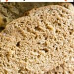 sliced beer bread with pinterest text overlay
