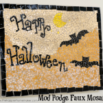halloween bat moon mosaic art mod podge scrapbook paper