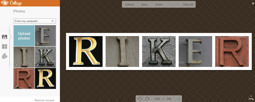 A screen shot of DIY photo name art with R, I, and K
