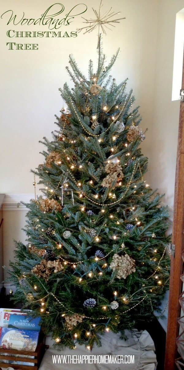 woodlands rustic christmas tree hydrangea pine cones