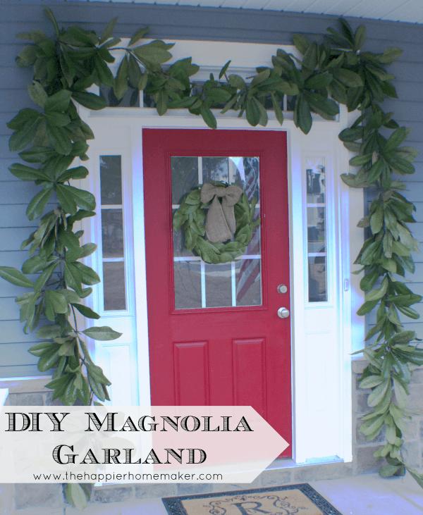 diy magnolia garland christmas decor leaves