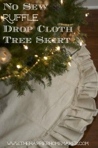 drop cloth ruffle tree skirt diy no sew