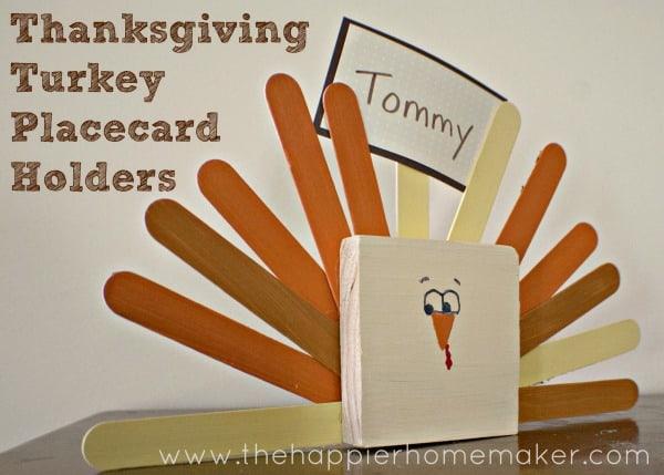 turkey popsicle stick wood block scrap placecard holder thanksgiving autumn fall craft kids