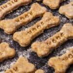 homemade dog treats on baking sheet