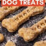 text reading homemade dog treats over photo of dog treats on baking sheet