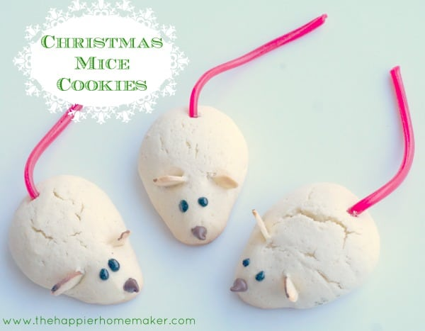 A close up of Christmas mice cookies with Twizzler tails