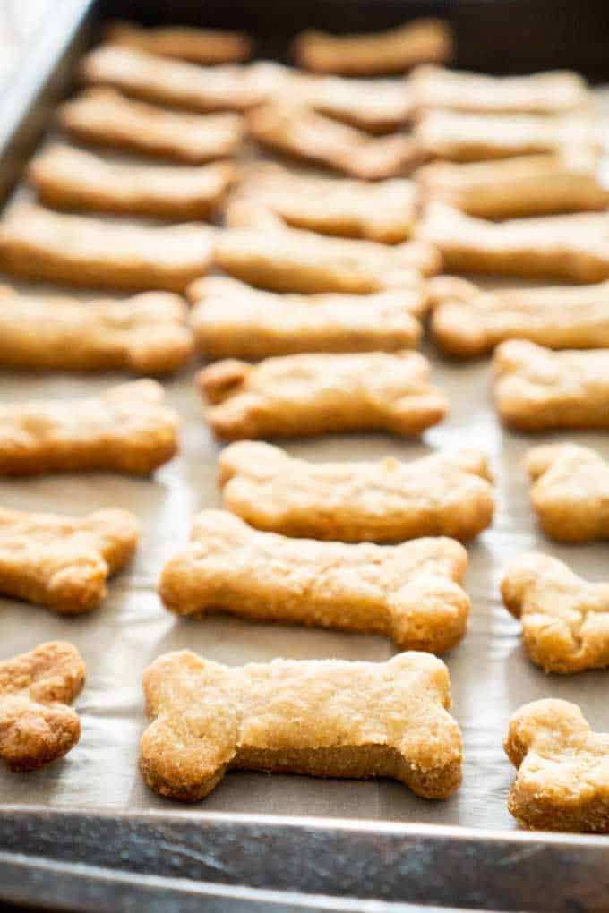 A close up of homemade dog treats on a baking pan
