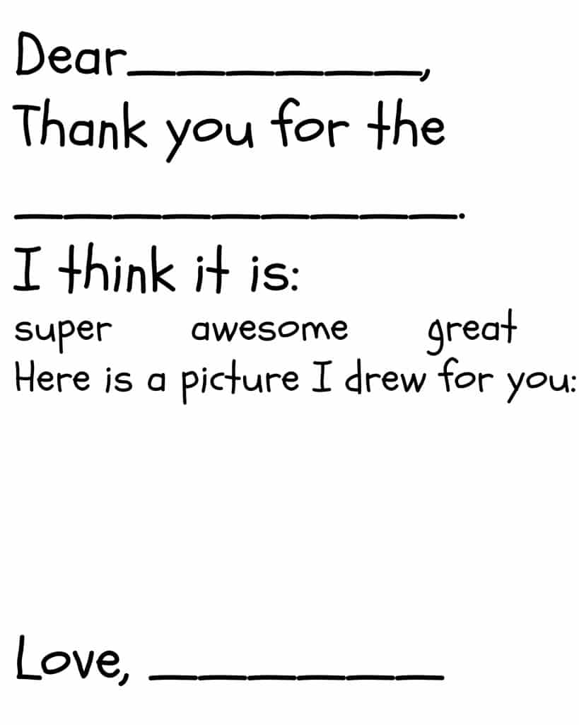 A fill in the blank printable thank you card for children