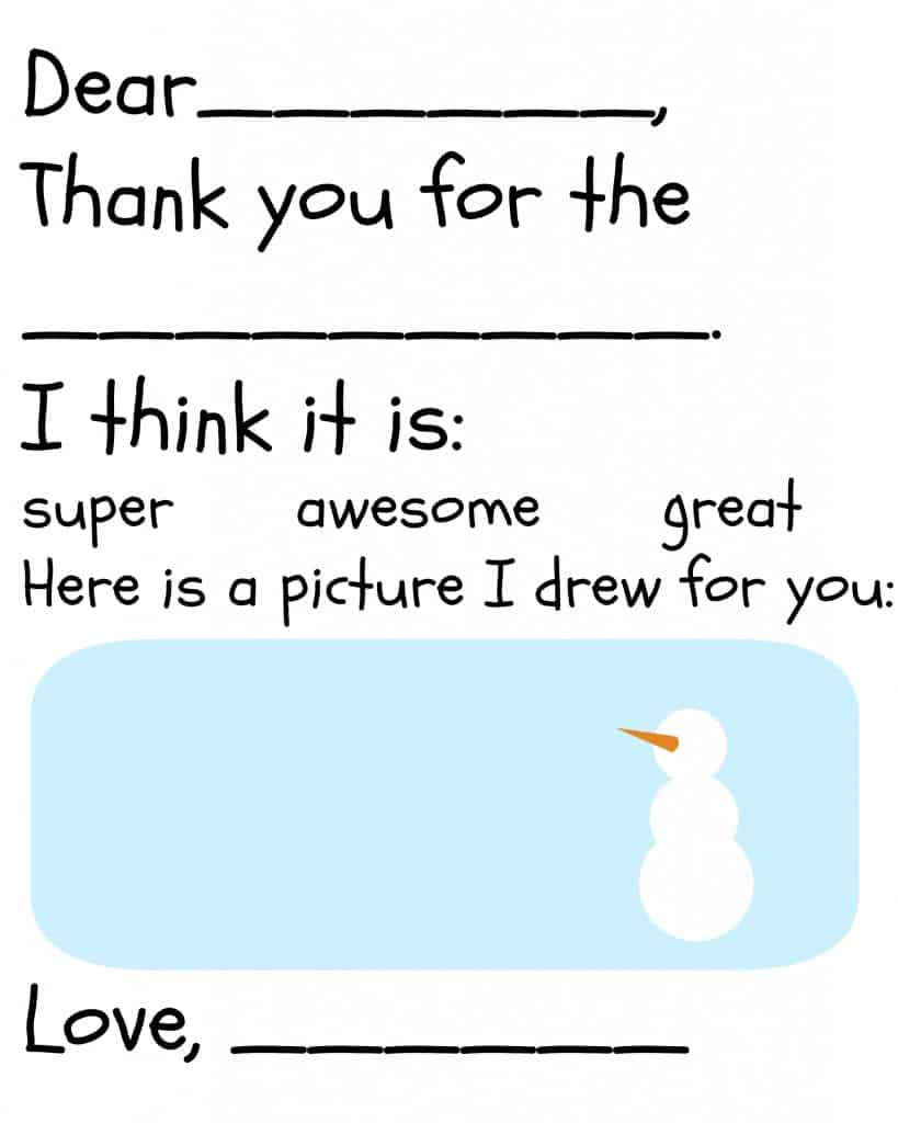 A fill in the blank printable thank you card for children with a picture of a snowman