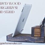 A DIY reclaimed, dark wood desk organizer