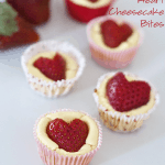 mini cheesecakes with strawberry hearts