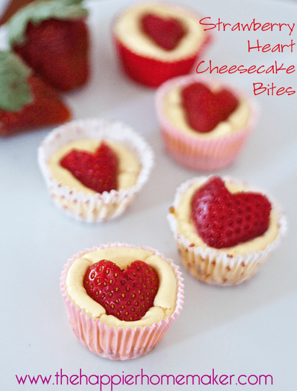 strawberry heart cheesecake bites