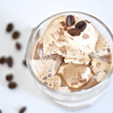 affogato al cafe in glass