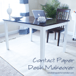 A close up of a contact paper desk makeover after picture