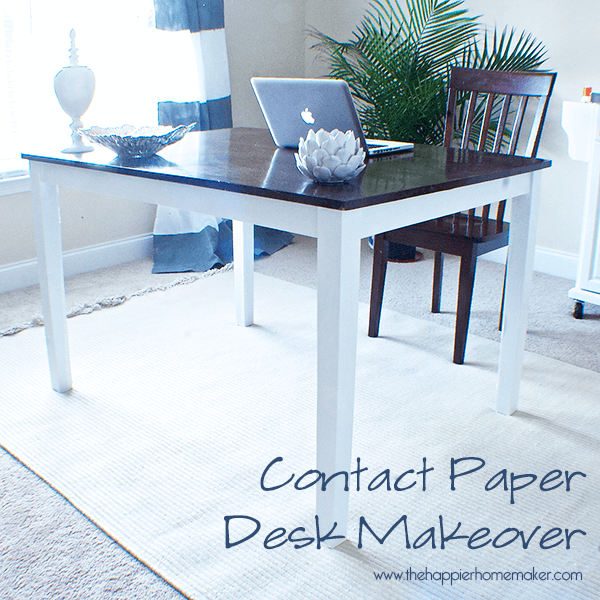 desk makeover contact paper