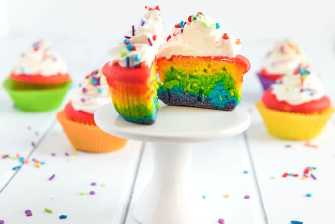 rainbow cupcakes with sprinkles