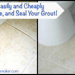 Before and after pictures of how to clean, refresh and seal your floor grout