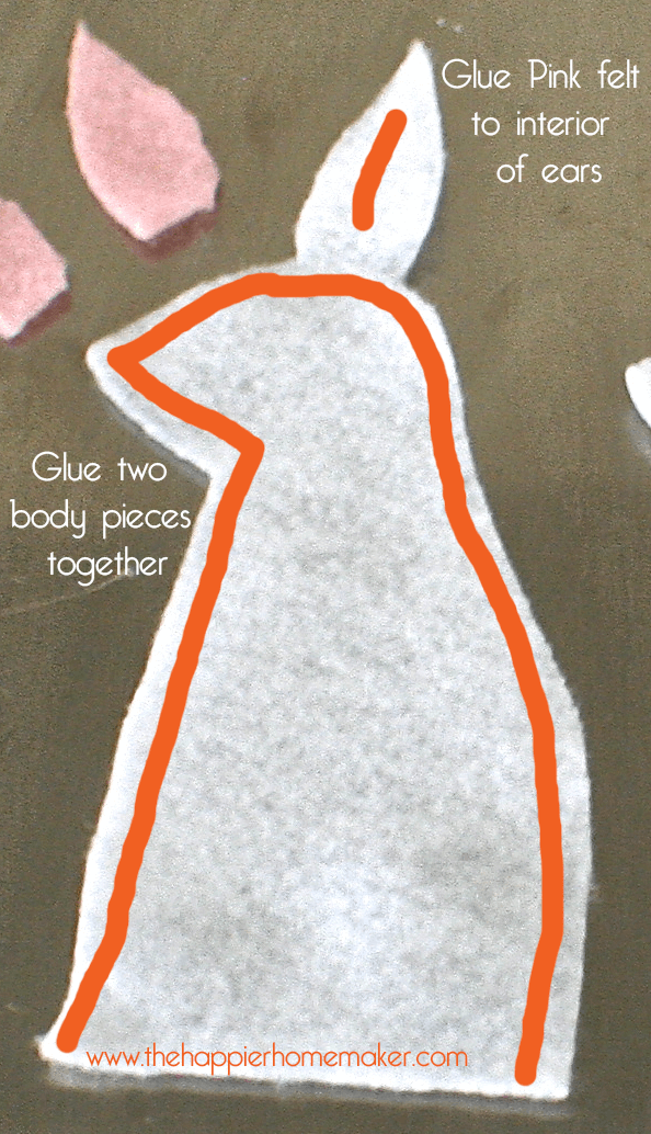 felt bunny glue instructions