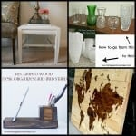 A collage of four pictures on up cycled and recycled crafts including vases, desk organizer and side table