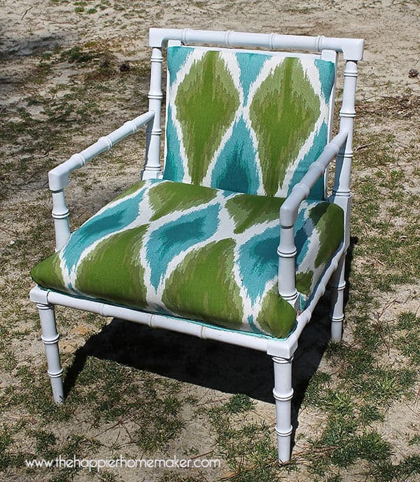 A vintage chair modern make over from a white rattan chair with a modern print