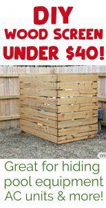 DIY wood screen to hide pool equipment in yard