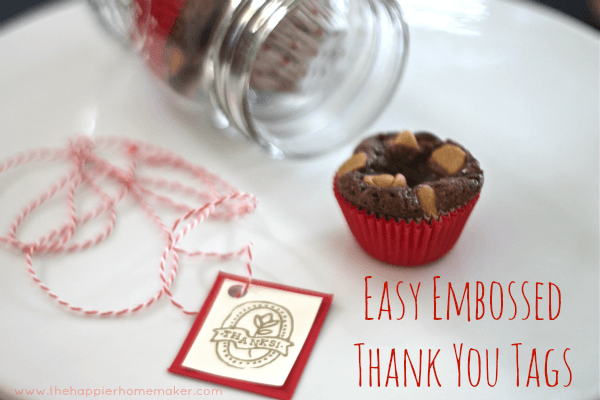 embossed stamped thank you tags