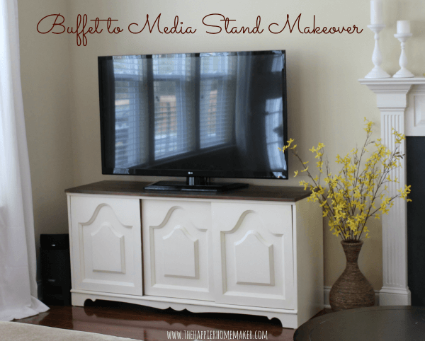 A buffet to media stand make over with a black TV on top