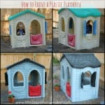 plastic playhouse with faded colors before and after spray painting